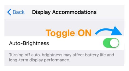 iOS 12 auto brightness setting on iPhone