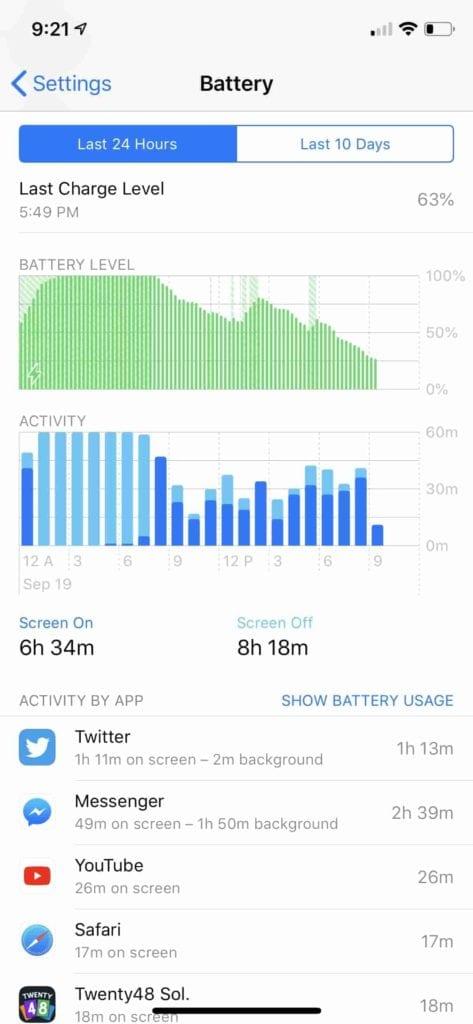 iOS 12 Battery Usage