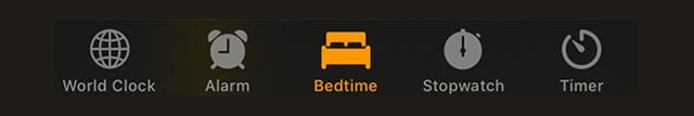clock app bedtime icon and tab