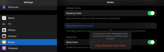 clear apple books reading goals data from iPad or iPhone or iPod
