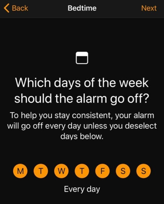choose days of the week for clock app bedtime mode
