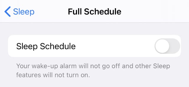 Disable Sleep Schedule in the Health or Clock app