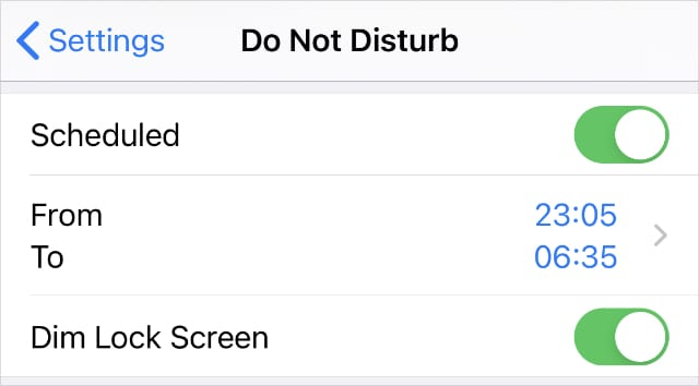 Do Not Disturb Scheduled settings