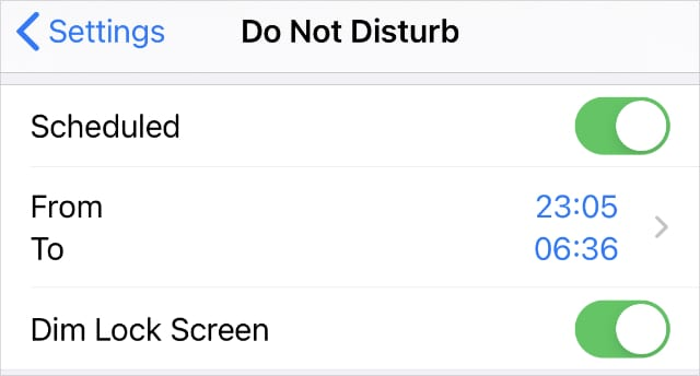 Do Not Disturb Scheduled settings1