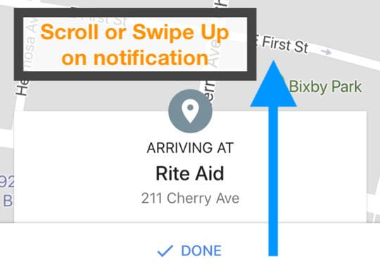 iOS Google Maps Arriving At Notification