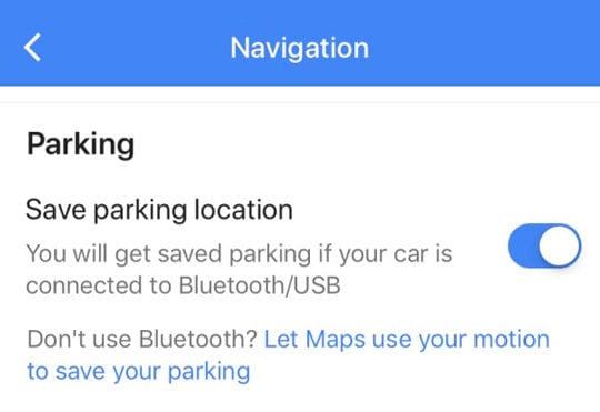 Bluetooth or USB save Parking location Google Maps iOS