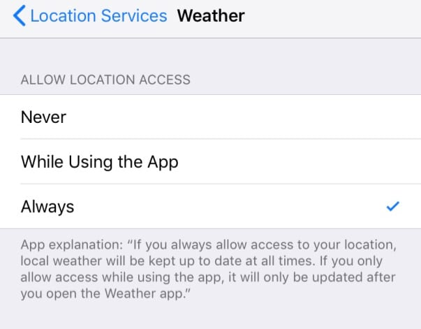 location services for weather app on iOS