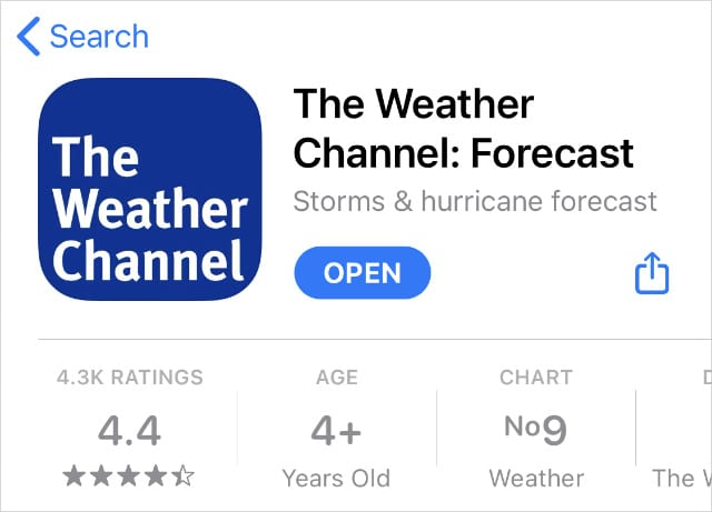 The Weather Channel app in the App Store