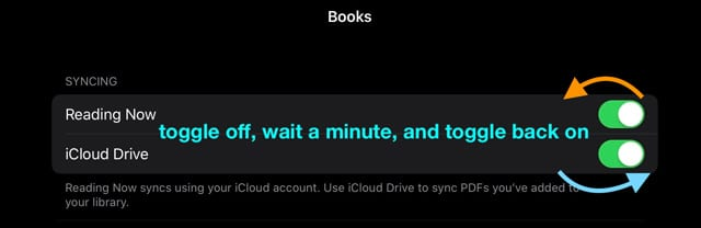 toggle Apple books iCloud drive and reading now off and on