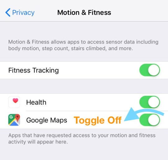 turn off Goggle Maps tracking motion and fitness tracking iOS