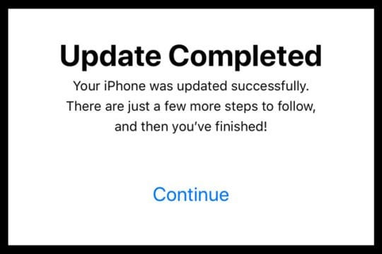 Update Completed Message for iPhone and iPad with iOS Software Update
