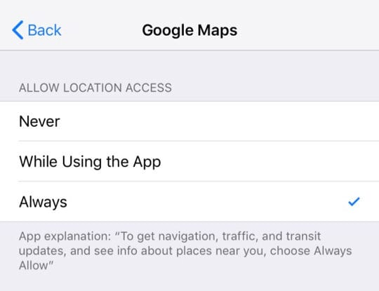 Allow Google Maps Location Access to Always on iPhone or iPad