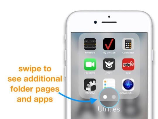 Additional apps on Folder Pages iPhone App Folders