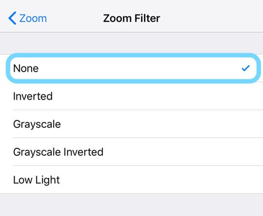 Zoom Filter on iOS
