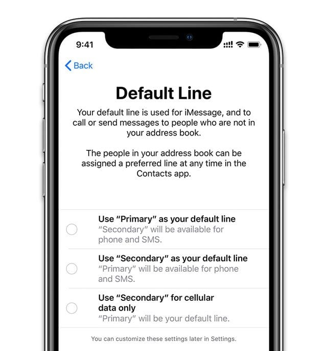 select default line on iPhones with dual sims message
