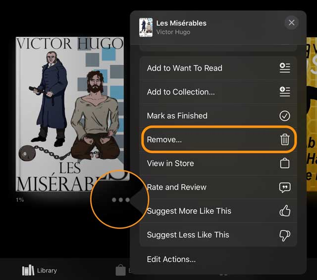 remove purchased book from apple books library