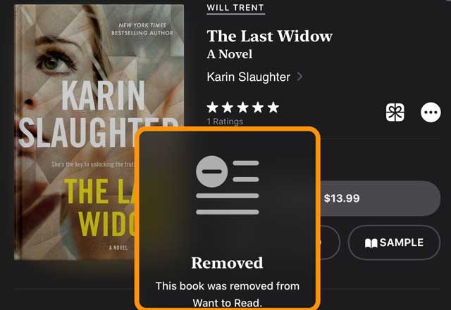 remove a book from apple books want to read list