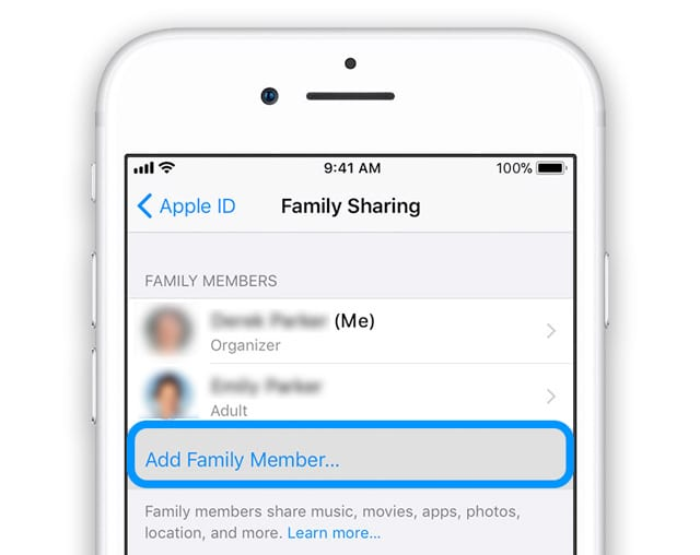 Family Sharing Add Family Member with Family Organizer