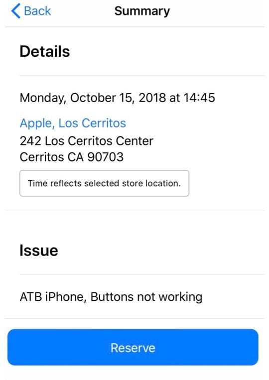 reserve button on apple support app appointment reservation