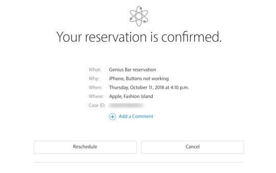 apple store genius appointment reservation confirmed