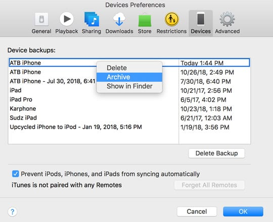 archive an iPhone backup using iTunes to backup