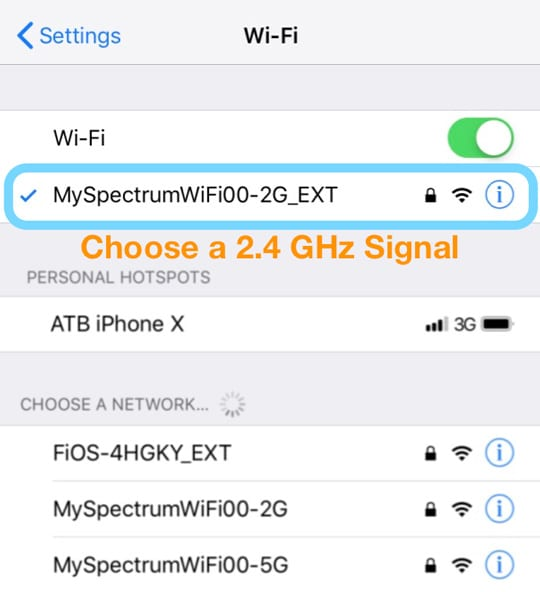 select a 2.4 GHz WiFi Network