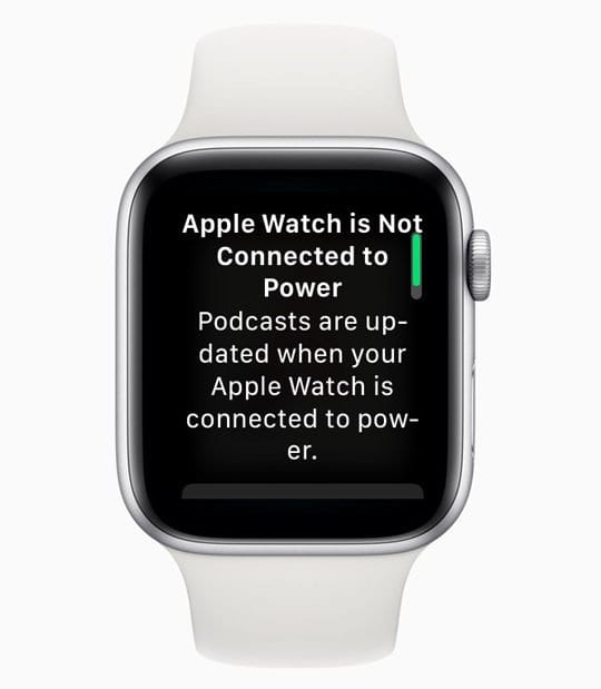 message to connect apple watch to power for podcast updates