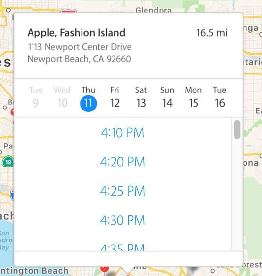 Apple Store Appointment date and time via apple support website