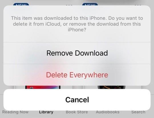 remove or delete book from Apple Books App