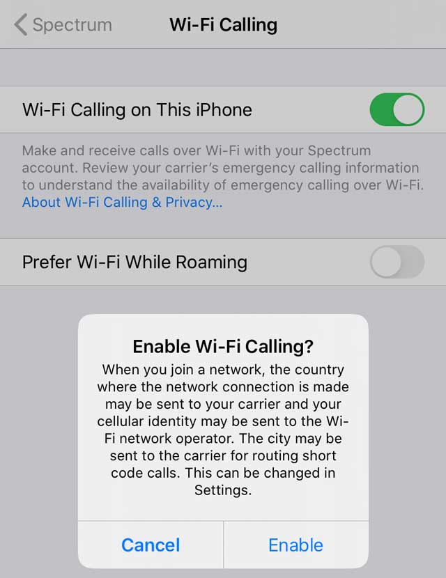turn on WiFi calling on iPhones