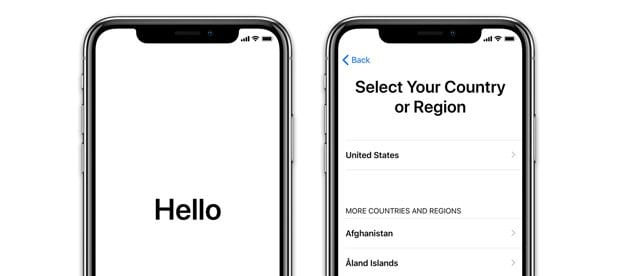 New iPhone Set-Up with Hello and Select Country