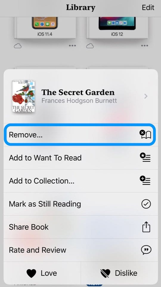 Remove Option from Apple Books App