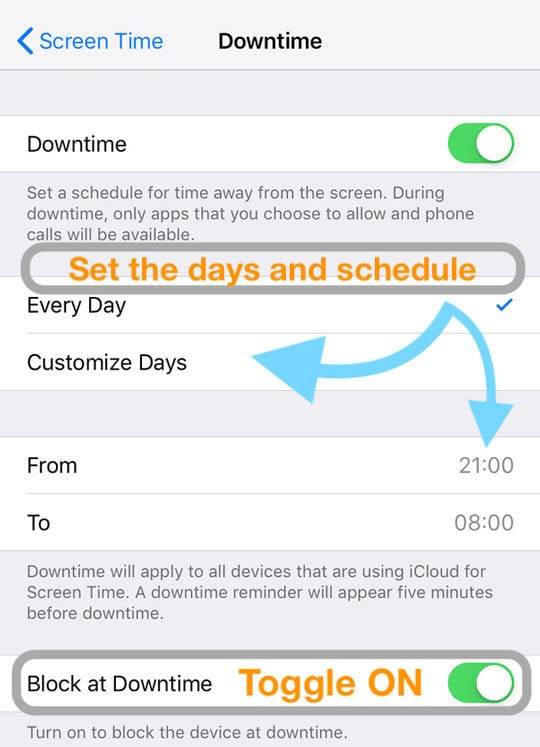 Downtime on iOS Screen Time Settings for iPhone, iPad, iPod