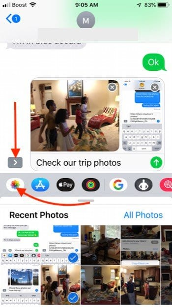 Sending Photos and removing iCloud photo link