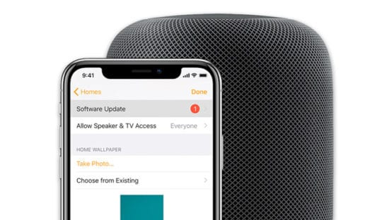 how to manually update a home pod from Apple