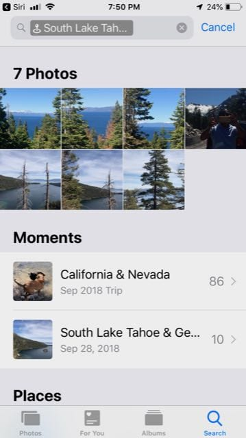 Photos for a Nearby location using Siri