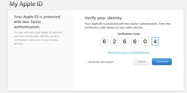 verify sign in via Apple Two-Factor Identification