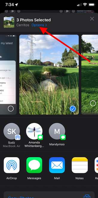 iOS 13 Option to bypass iCloud link when sharing photos