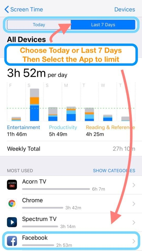 set up an app limit for a single app using iOS Screen Time on iPhone or iPad