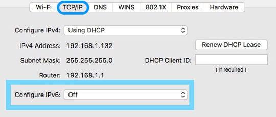 iPv6 Off on Mac's Network