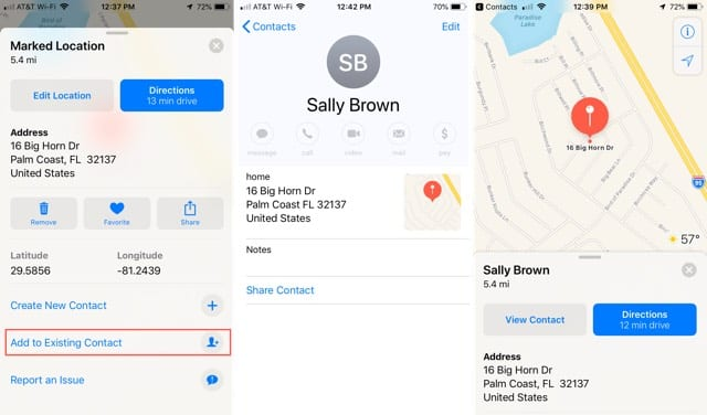 Add address to existing contact in Maps