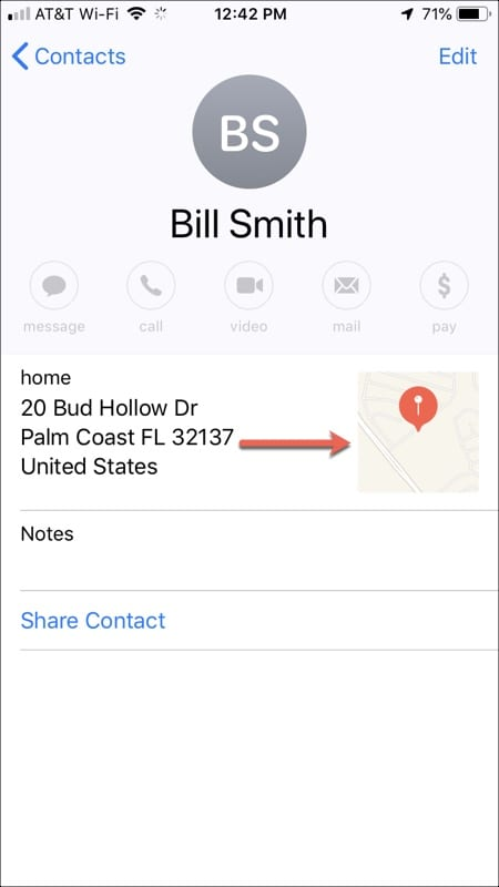 map contacts with map image