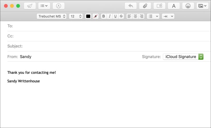 Mail Signature Composing Email on Mac
