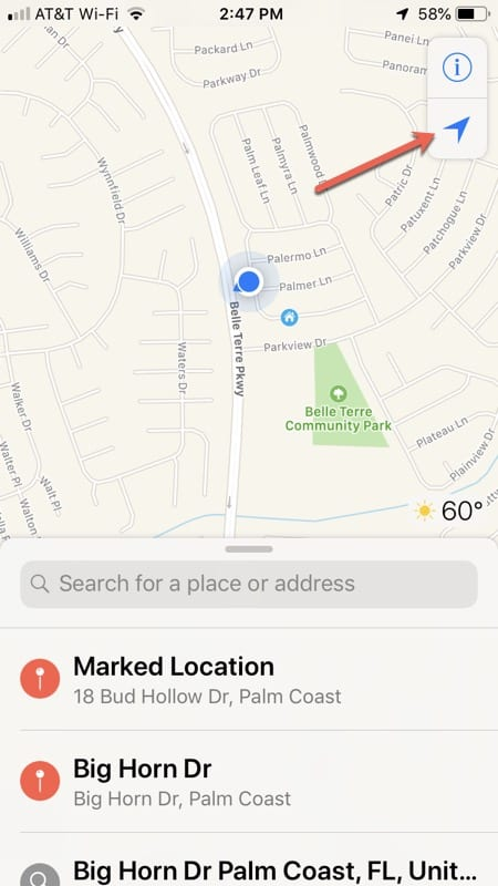 Maps app current location on iPhone