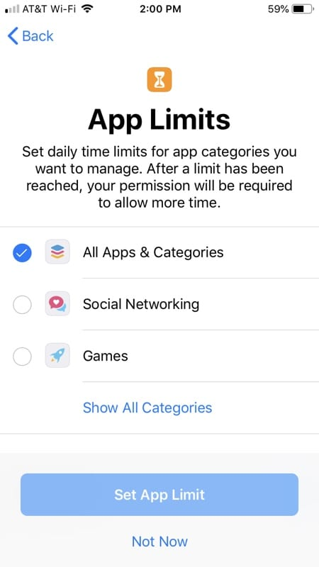 Set Screen Time App Limits