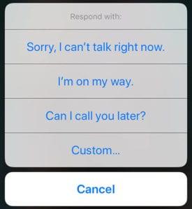 iOS 12 Auto-Reply Texts