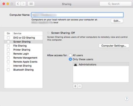 macOS Screen Sharing Preferences