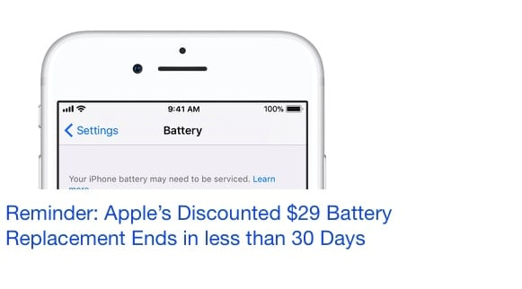 Apple $29 Battery Replacement Reminder