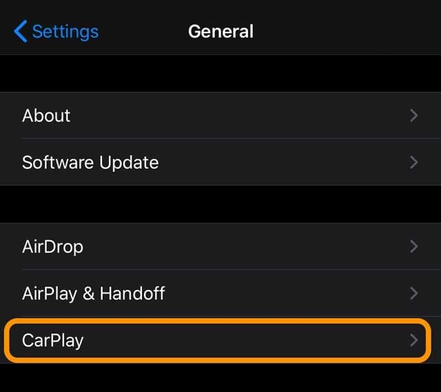 Settings > General > CarPlay in iOS 13+