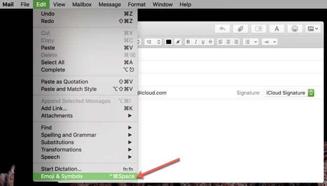 Emoji Symbol Menu Bar Mail Mac